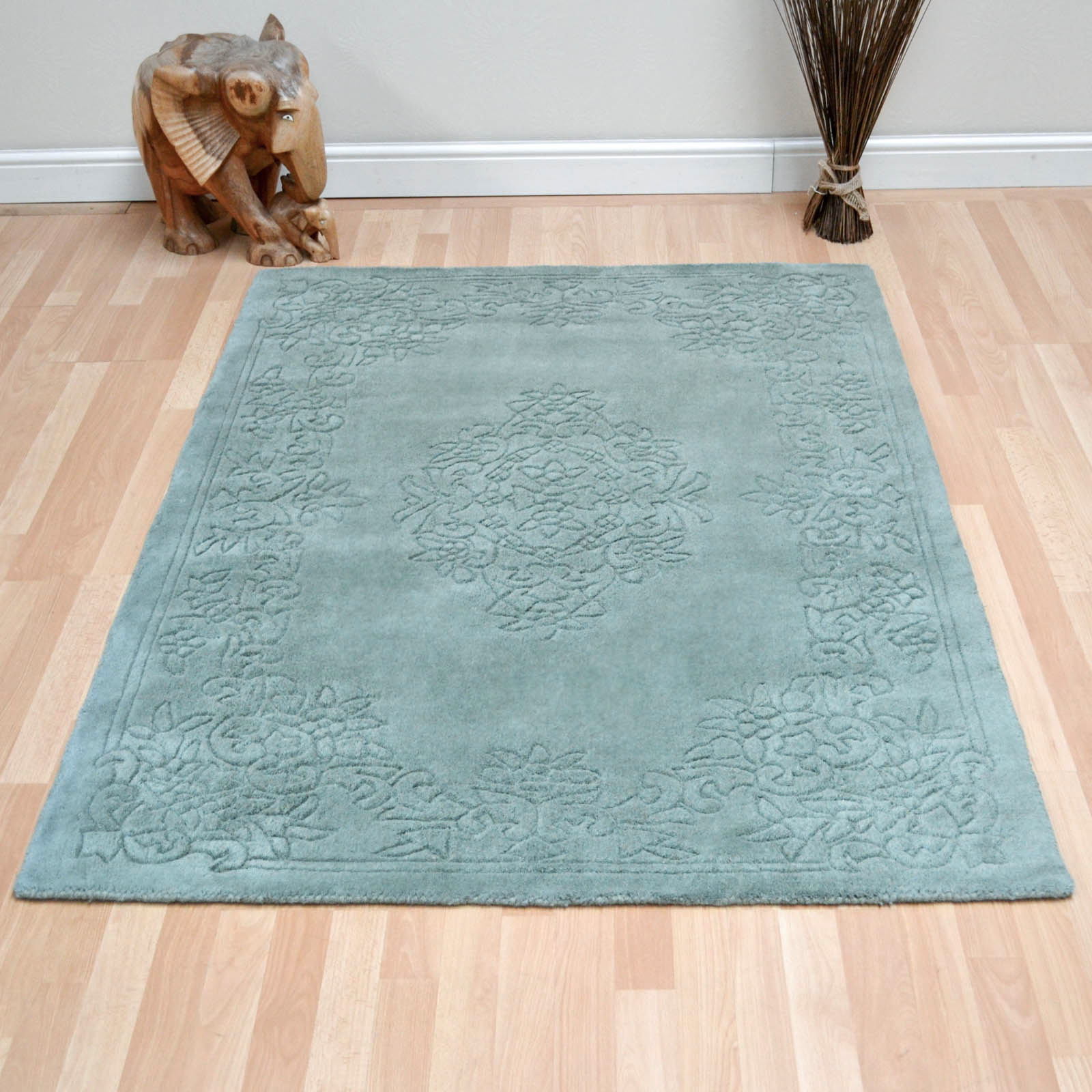 Imperial Plain Aubusson Rugs in Green