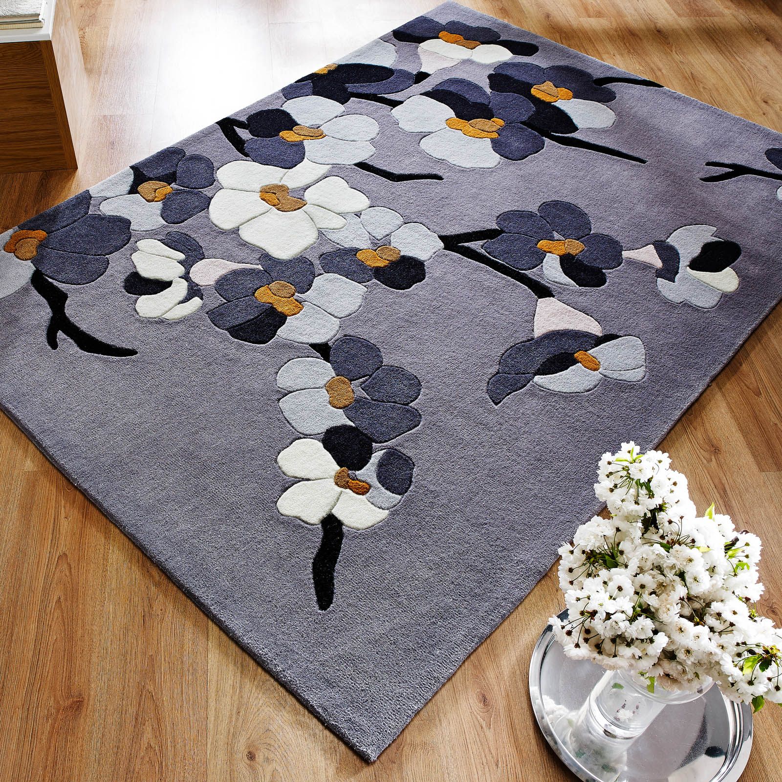Infinite Blossom Rugs Grey And Ochre Free Uk Delivery