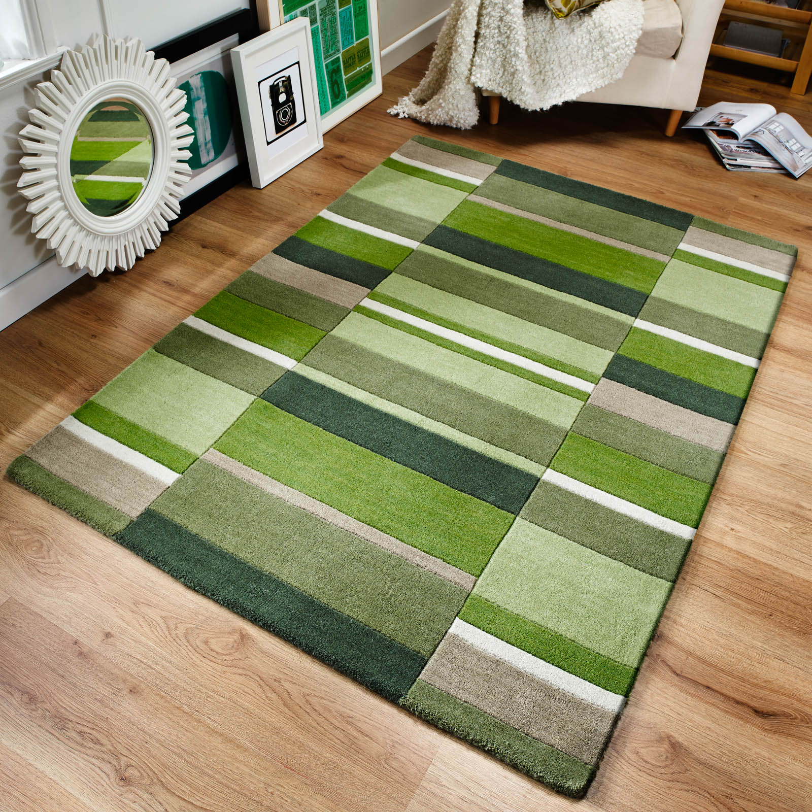 Jazz Blocks Wool Rugs in Moss