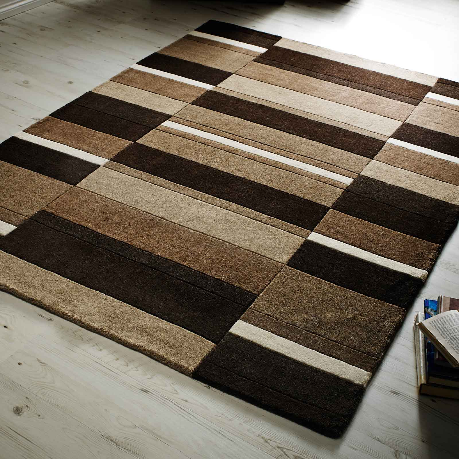 Jazz Blocks Wool Rugs in Natural