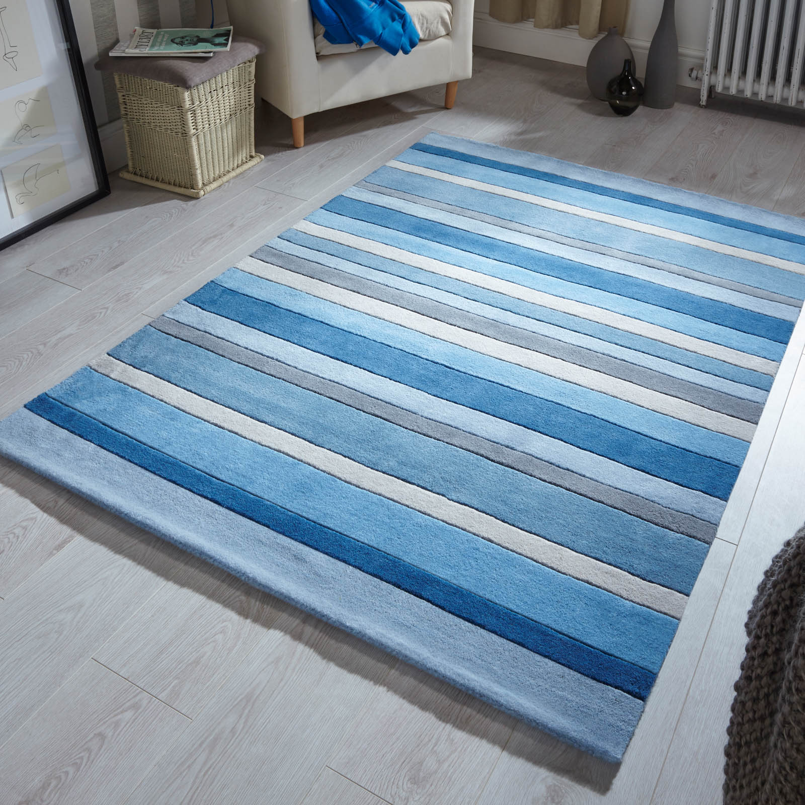 Jazz Stripes Wool Rugs in Dusky Blue