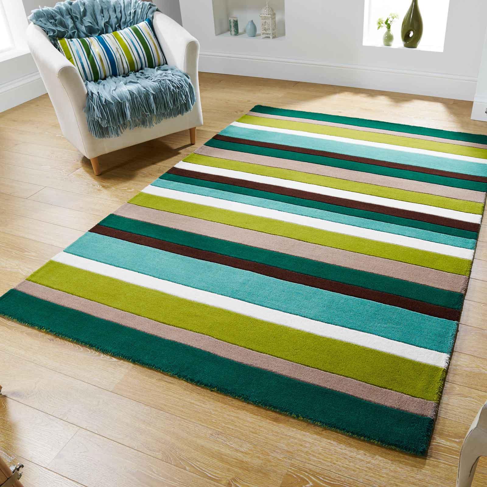 Jazz Stripes Wool Rugs In Green