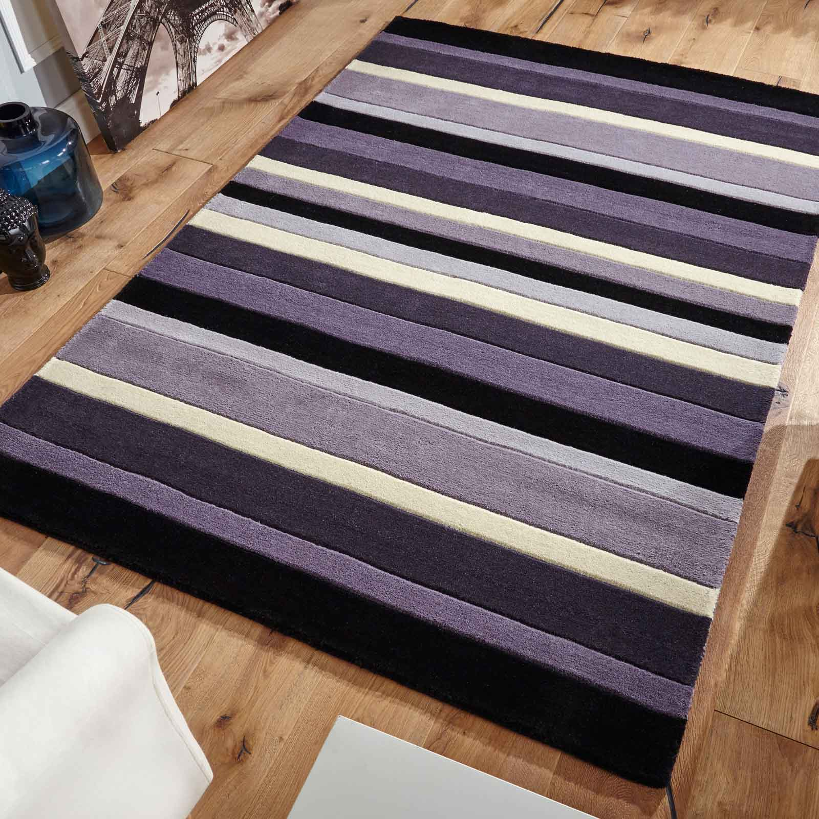 Jazz Stripes Wool Rugs in Grey