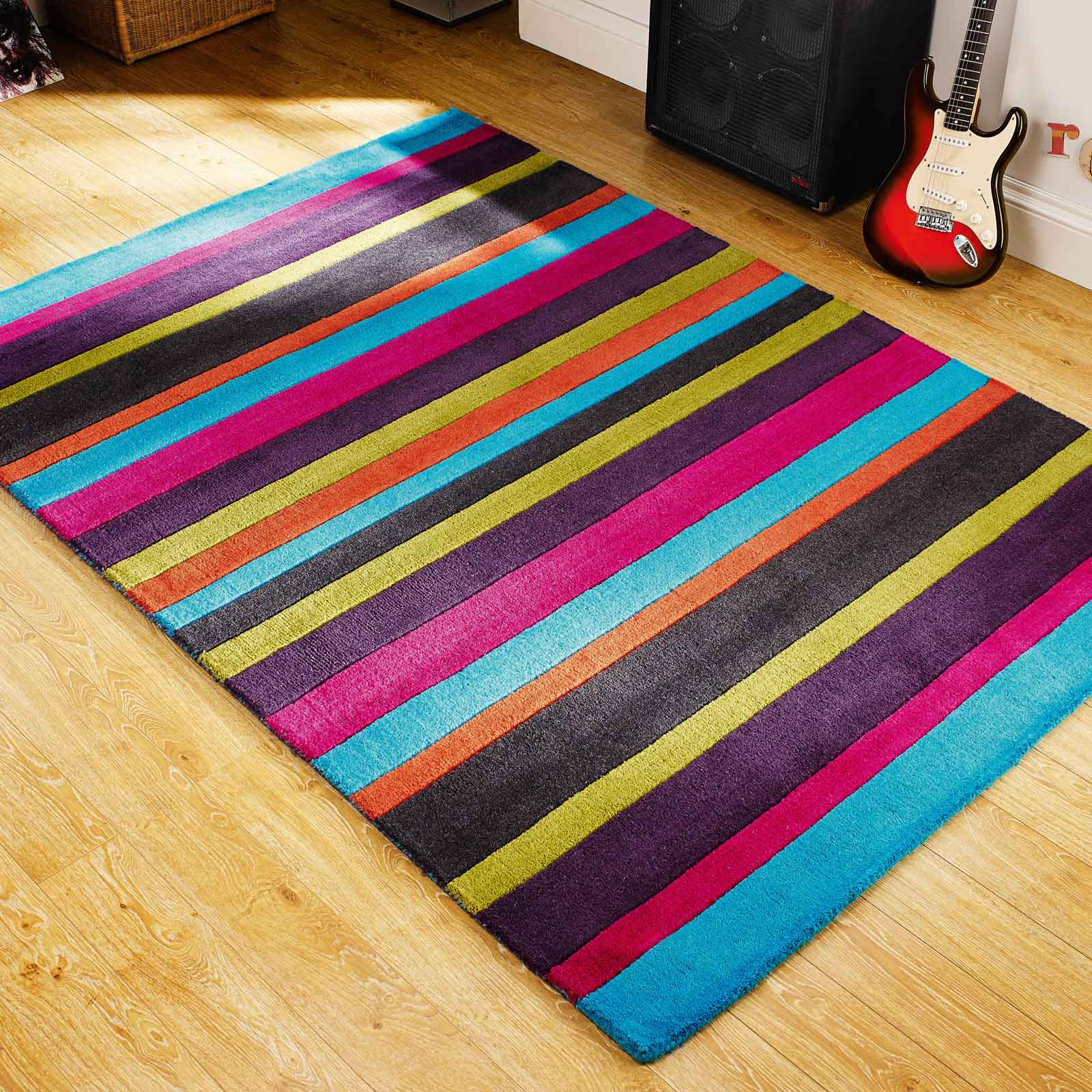 Jazz Stripes Wool Rugs in Multi
