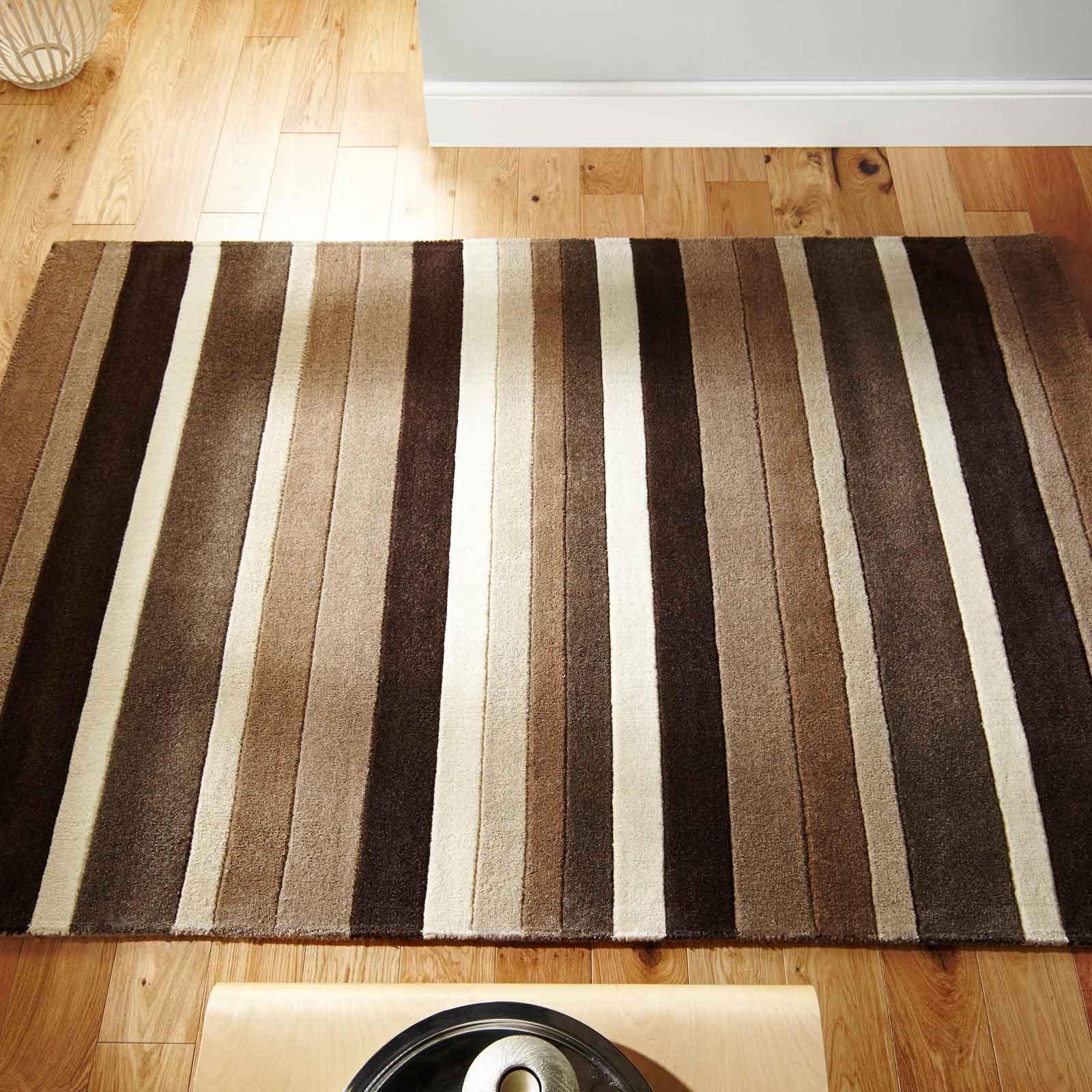 Jazz Stripes Wool Rugs in Natural