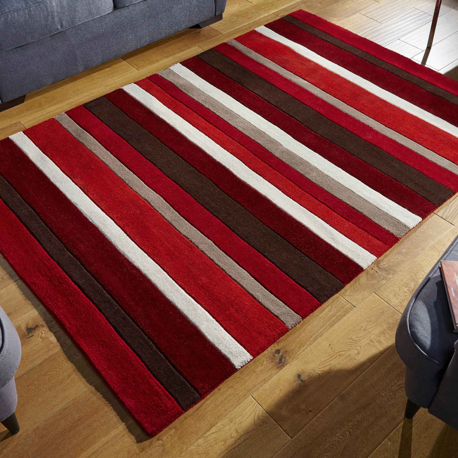 Jazz Stripes Wool Rugs in Red