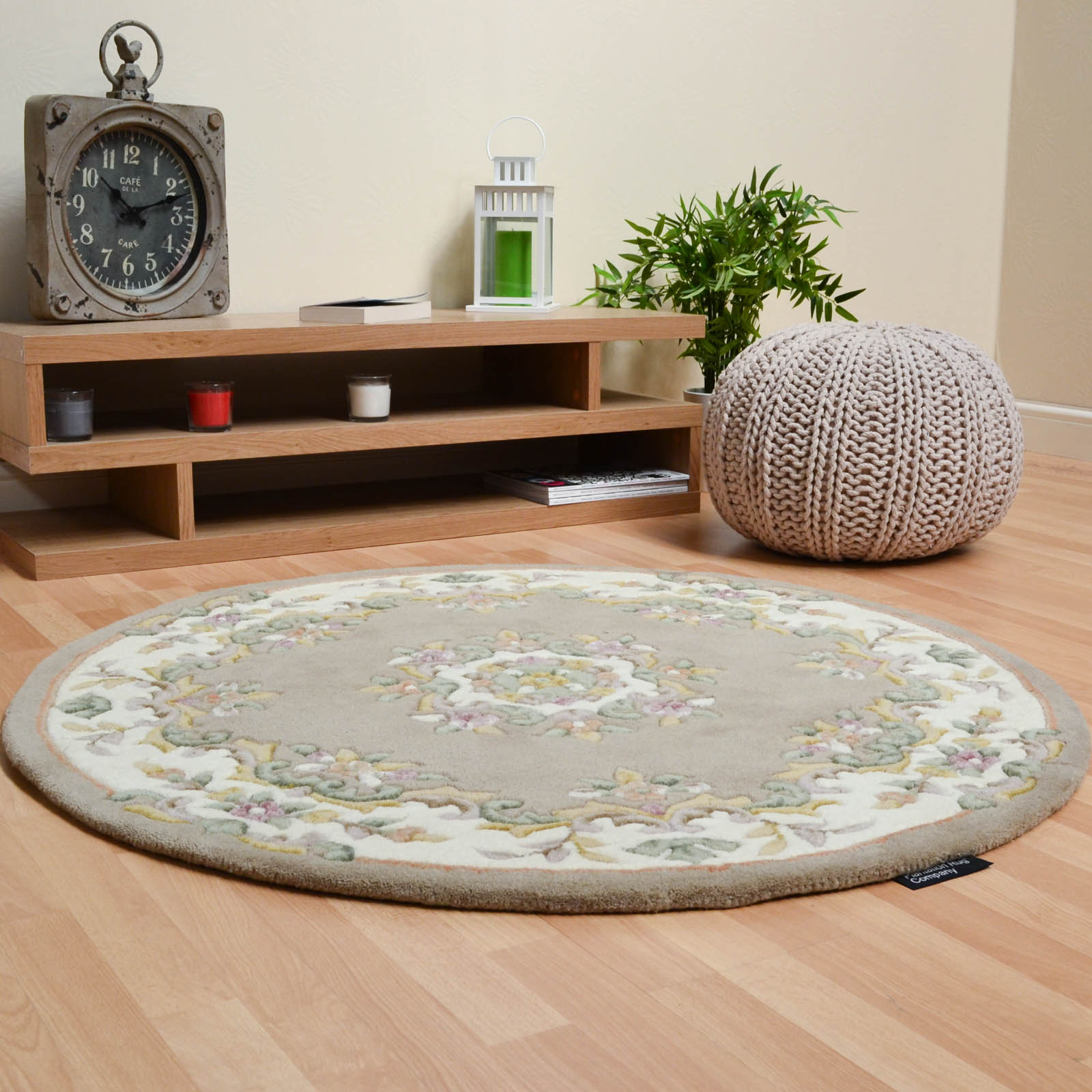Jewel Circular Wool Rugs in Beige Ivory