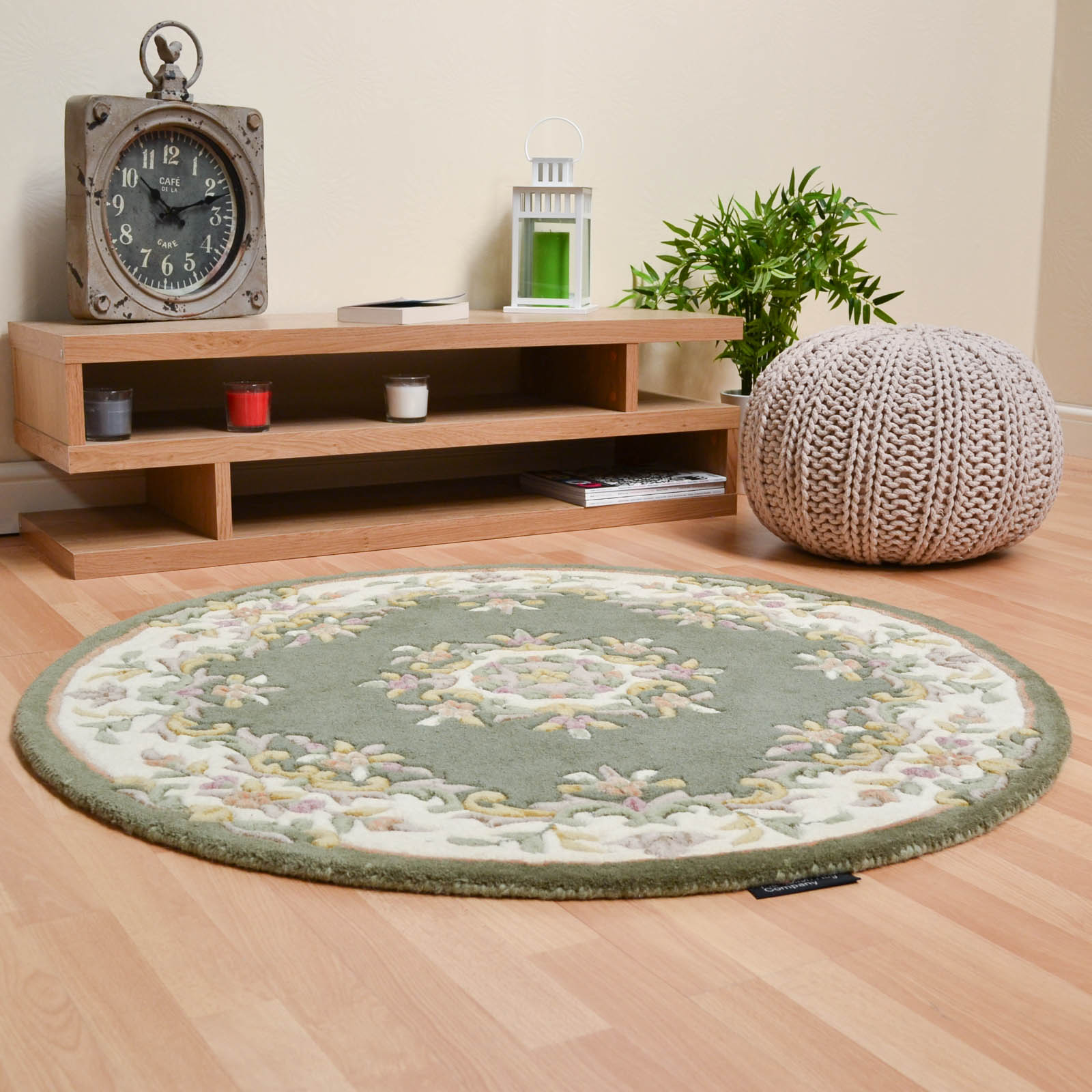 Jewel Circular Wool Rugs in Light Green Ivory