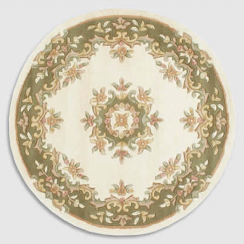 Jewel Circular Wool Rugs In Ivory Green Buy Online From
