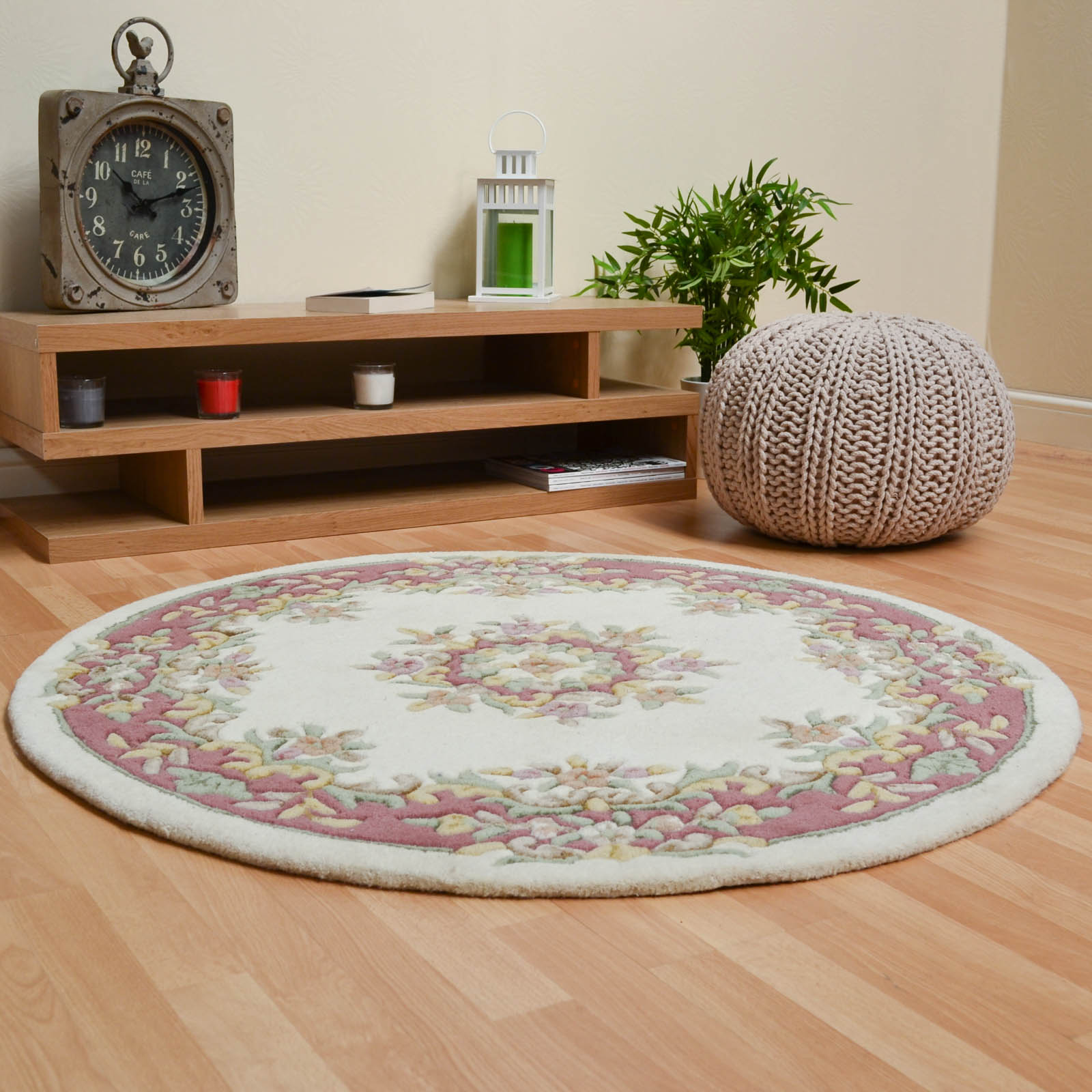 Jewel Circular Wool Rugs in Ivory Pink