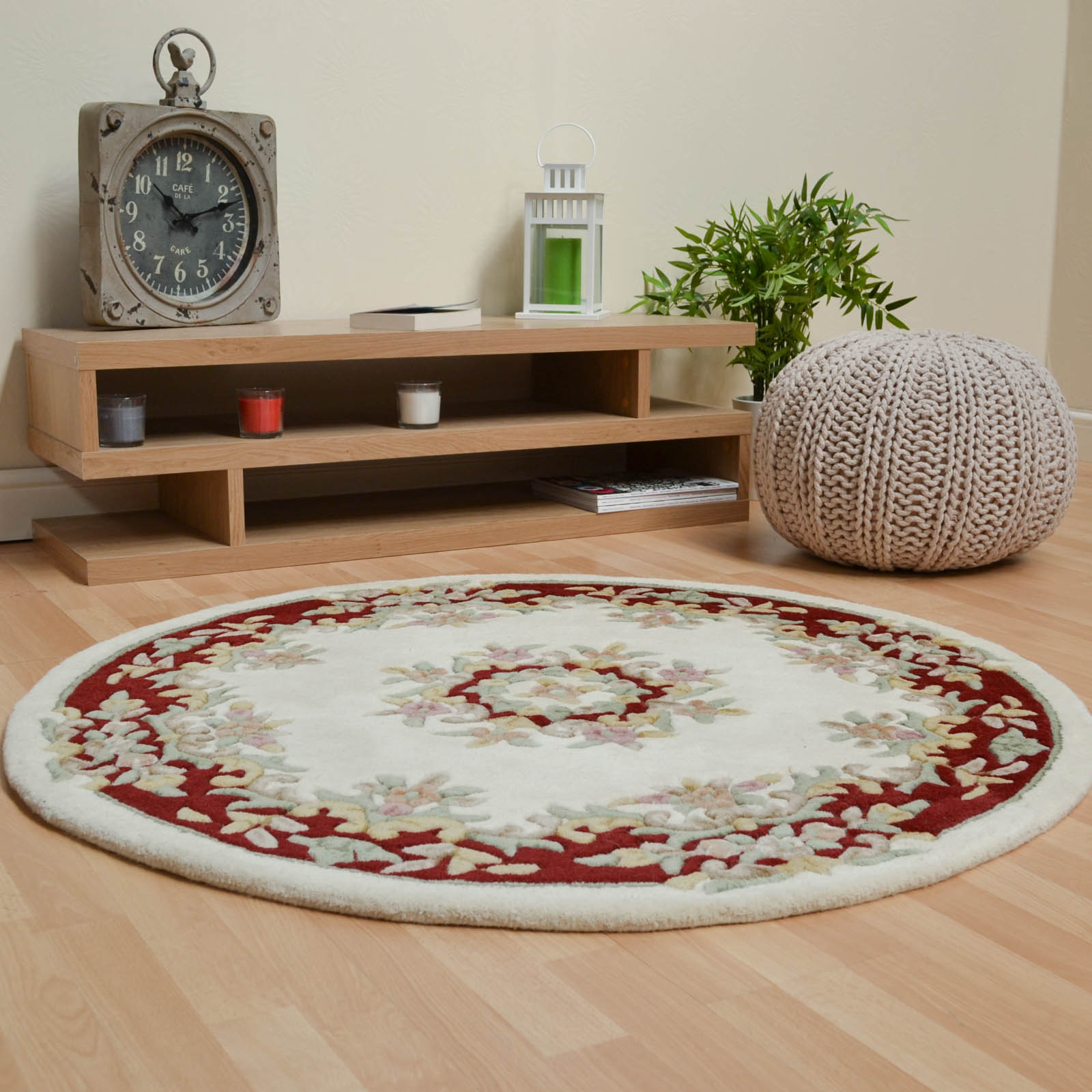 Jewel Circular Wool Rugs in Ivory Wine