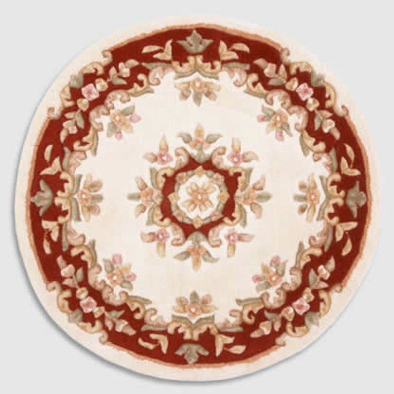 Jewel Circular Wool Rugs In Ivory Wine Buy Online From The