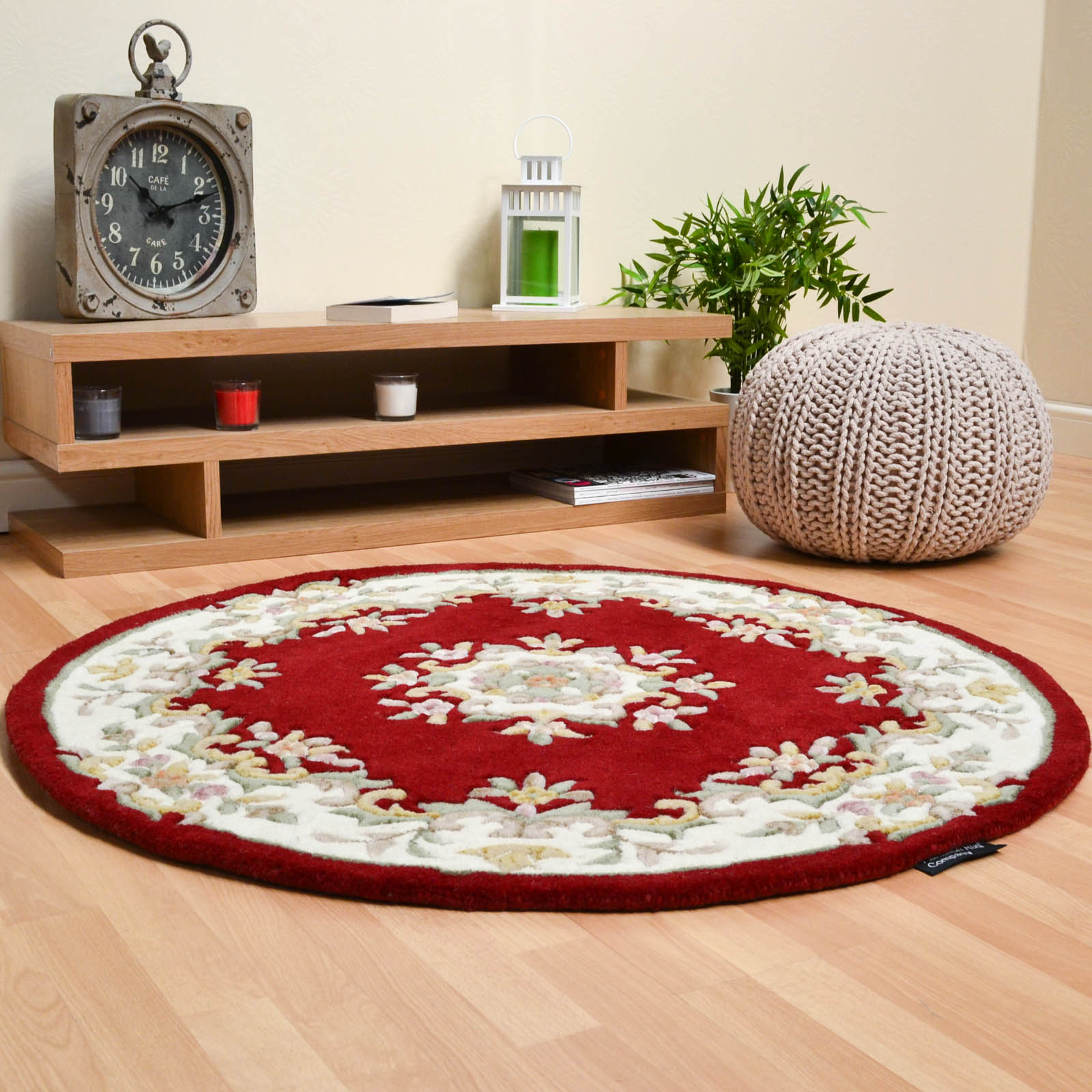 Jewel Circular Wool Rugs in Wine Ivory