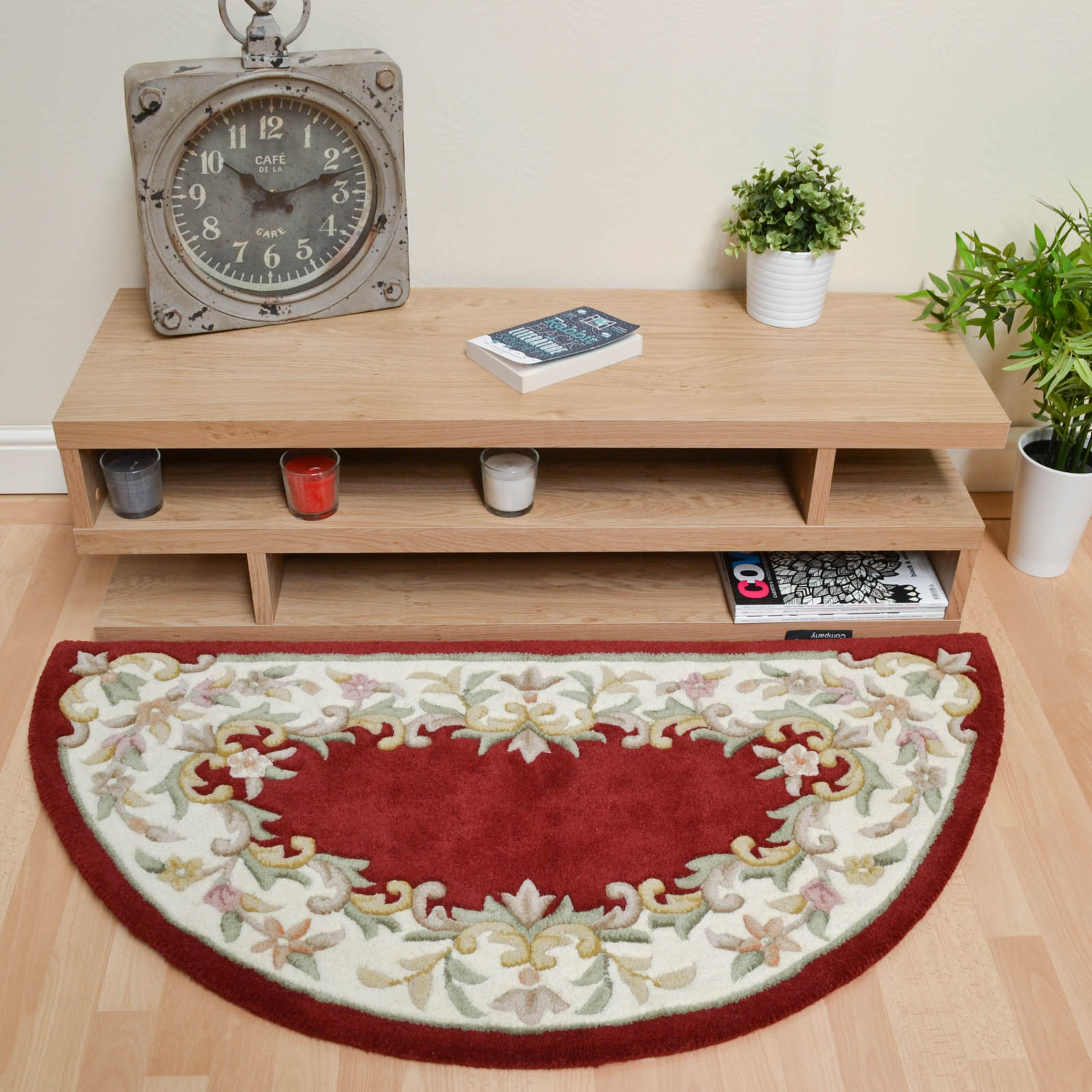Jewel Half Moon Rugs in Red Ivory