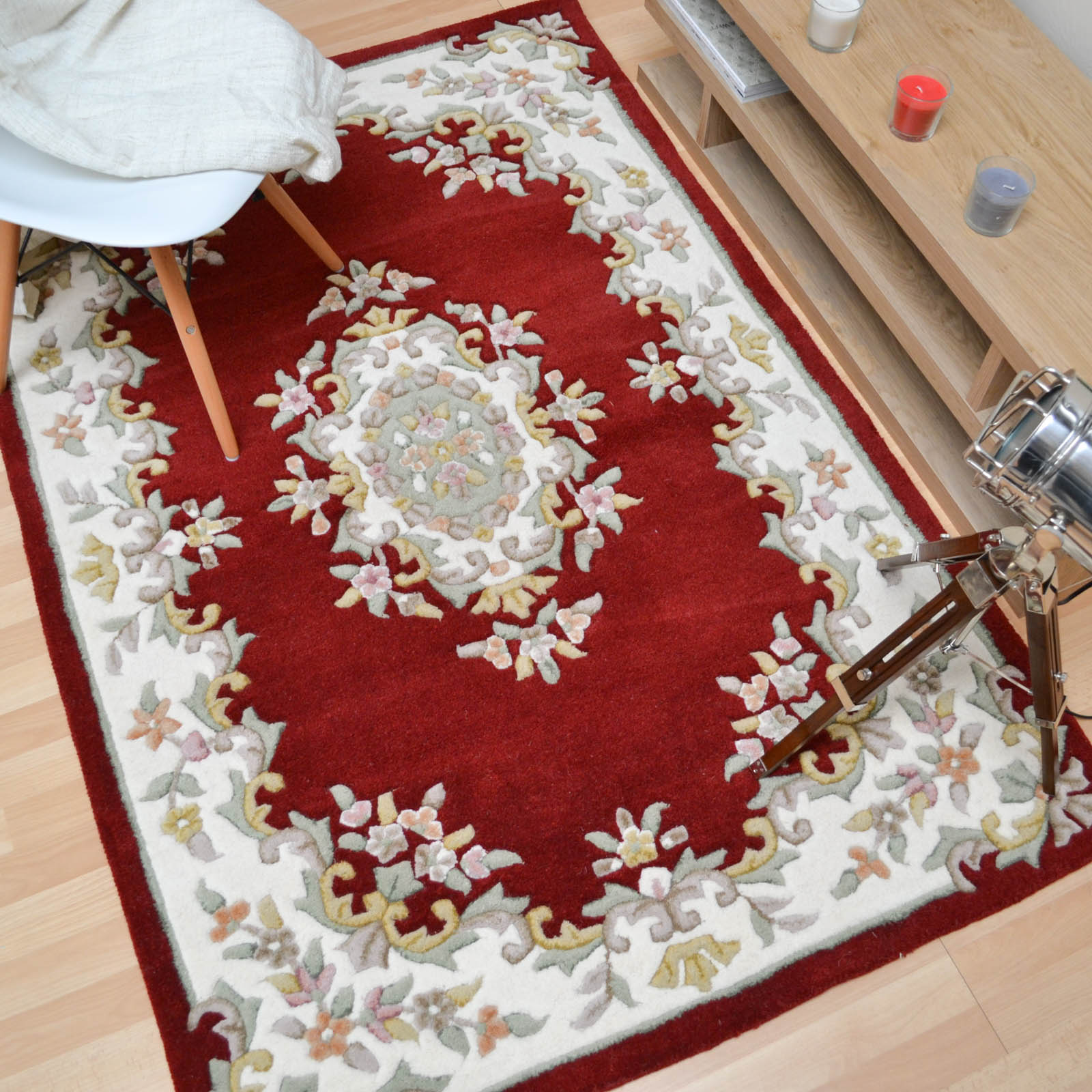 Jewel Traditional Wool Rugs in Wine Ivory