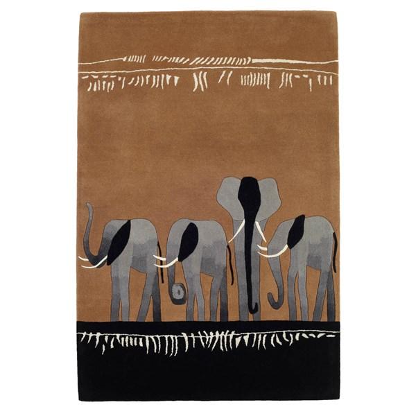 Kalahari Elephant Rugs In Beige And Black