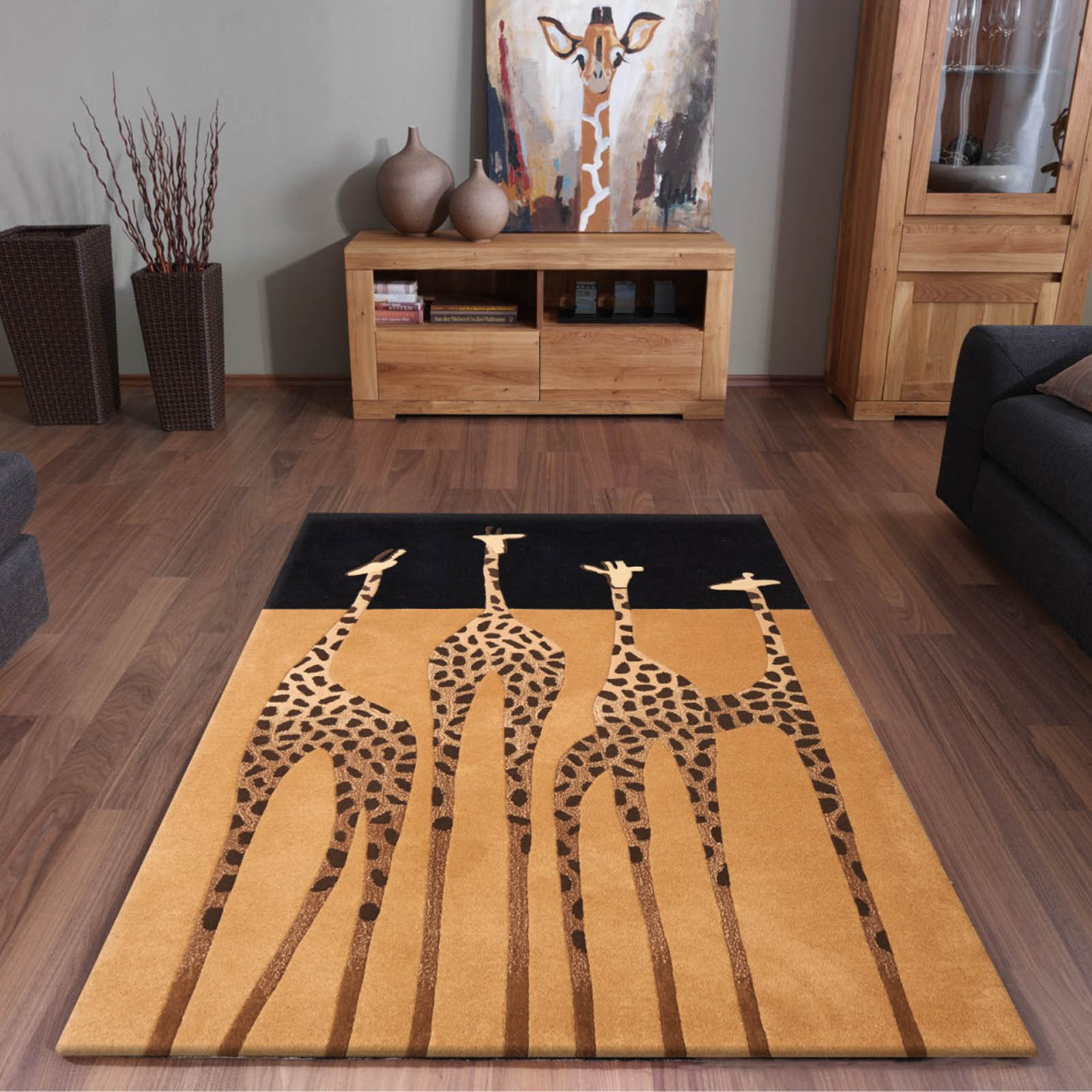 Kalahari Giraffe Rugs in Gold and Black