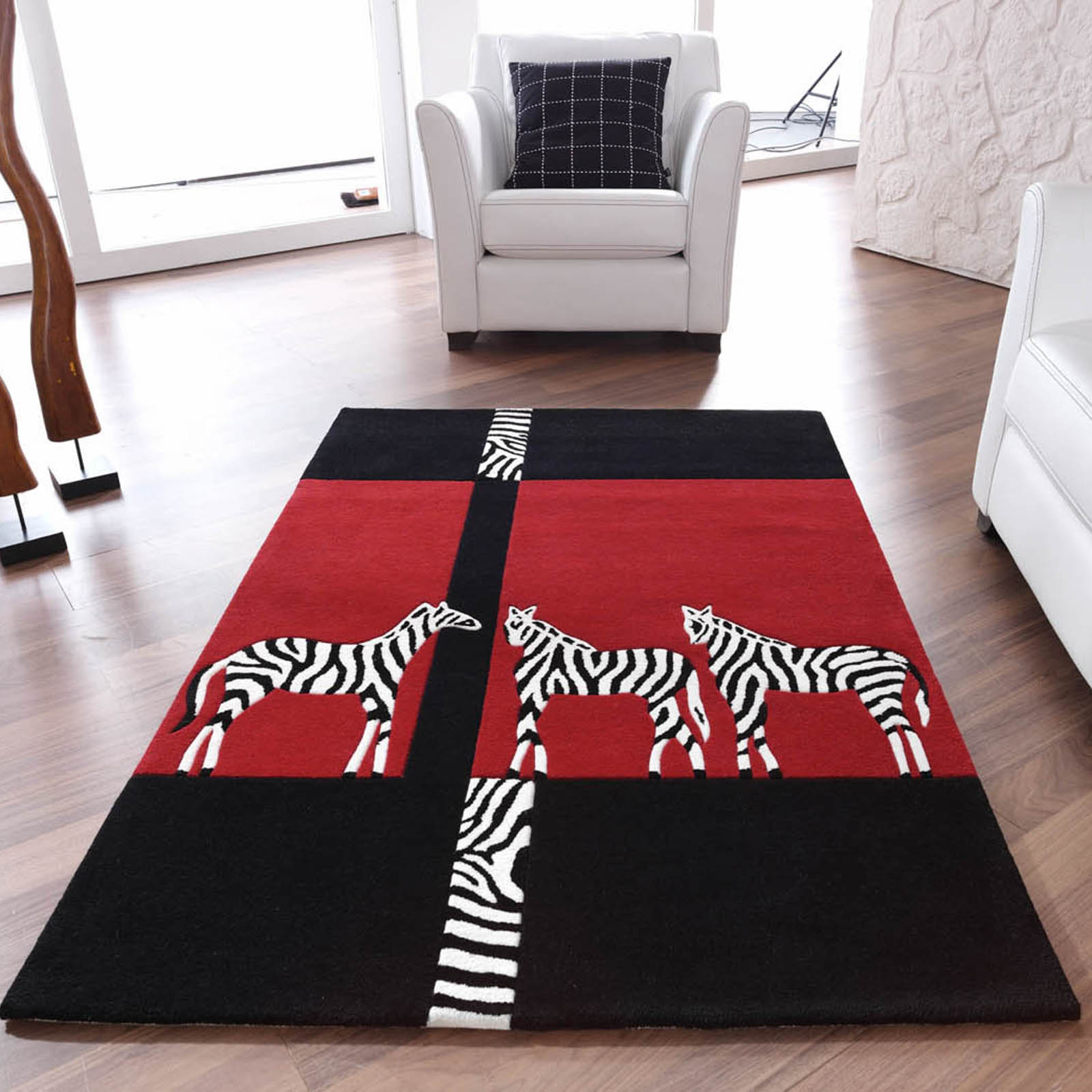 Kalahari Zebra Rugs in Black and Red