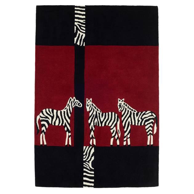 Kalahari Zebra Rugs In Black And Red