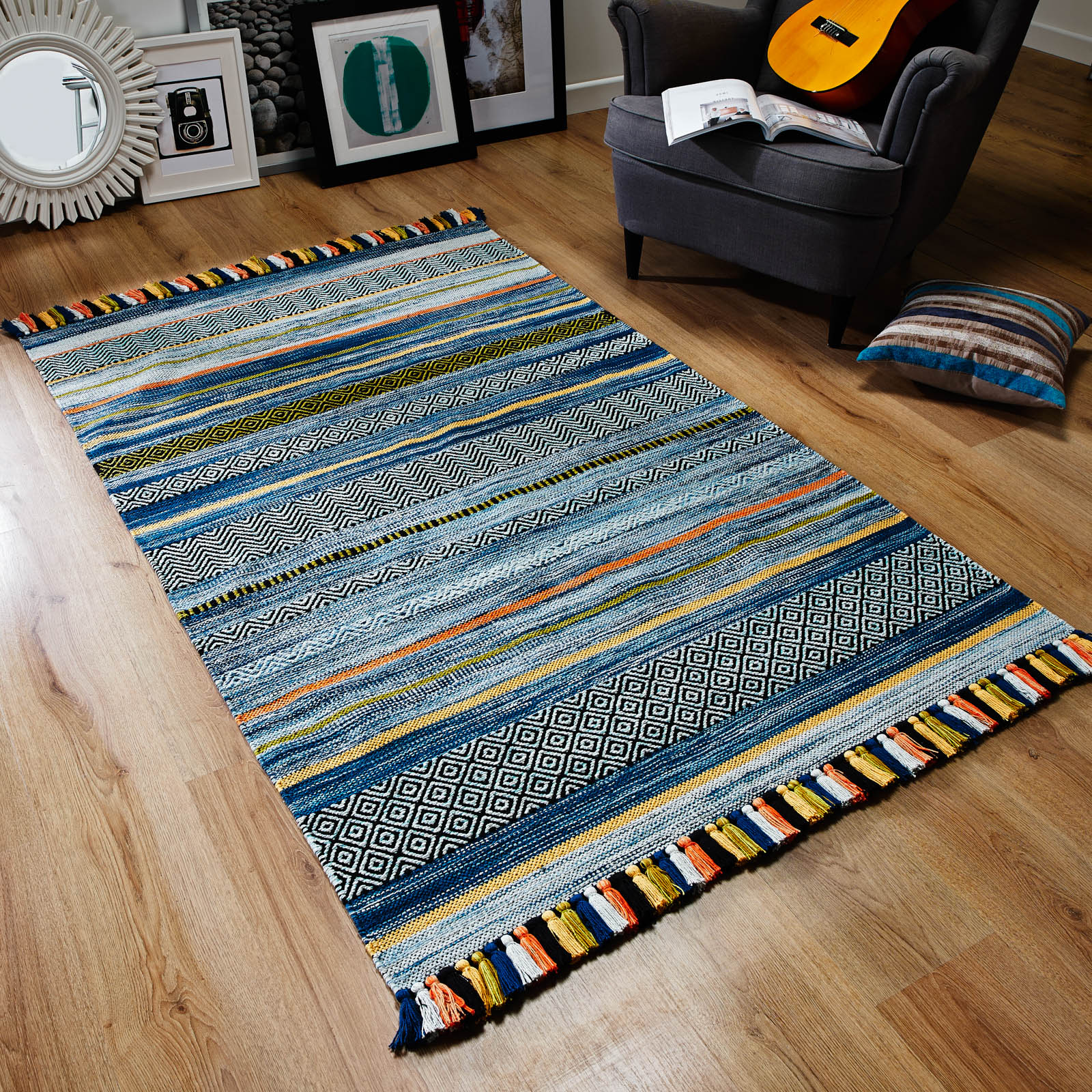 Kelim Striped Rugs in Blue