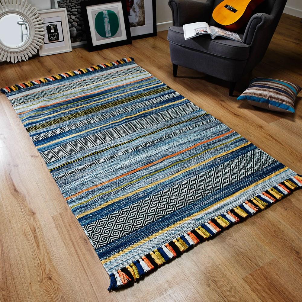 Kelim Striped Rugs In Blue Buy Online From The Rug Seller Uk