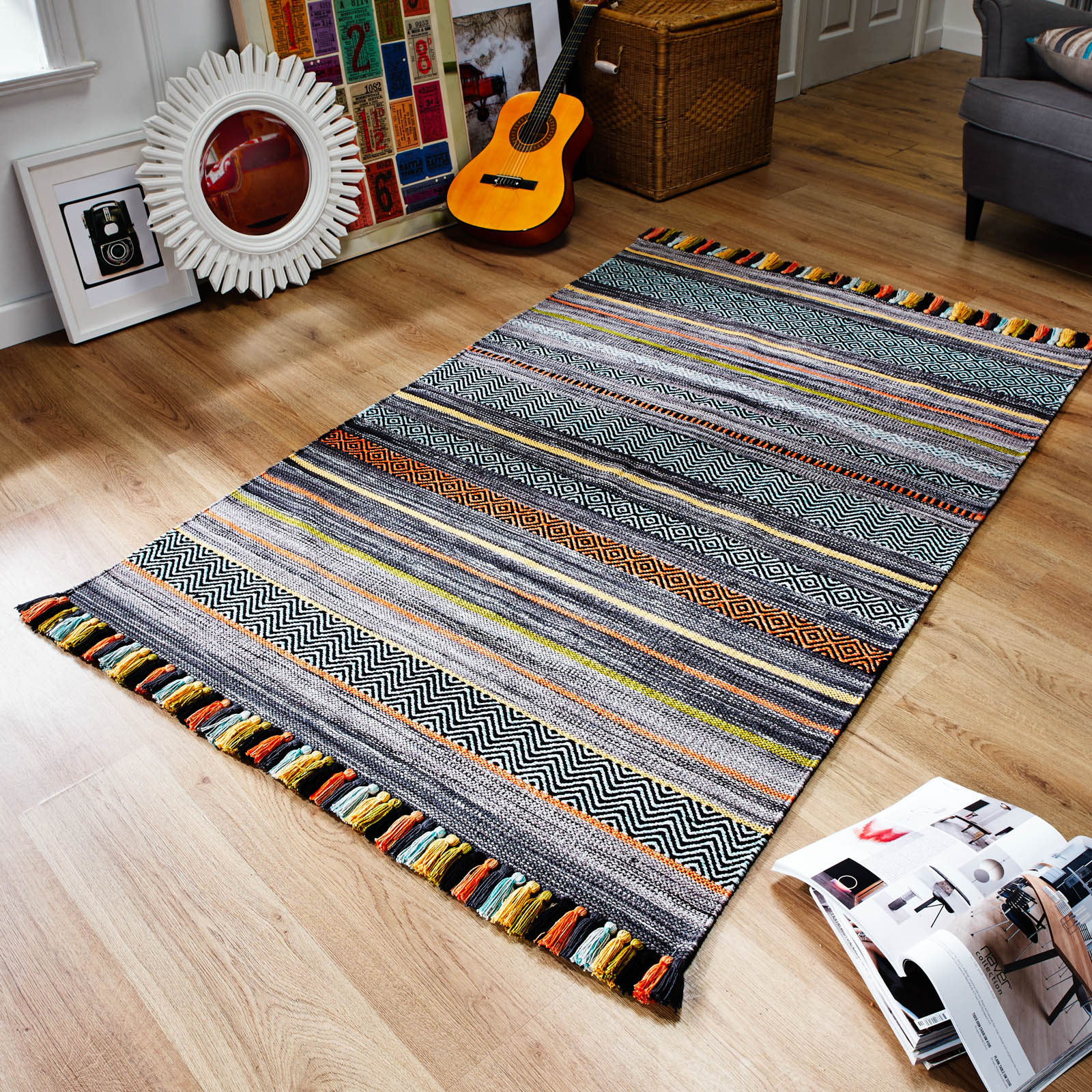 Kelim Striped Rugs in Charcoal