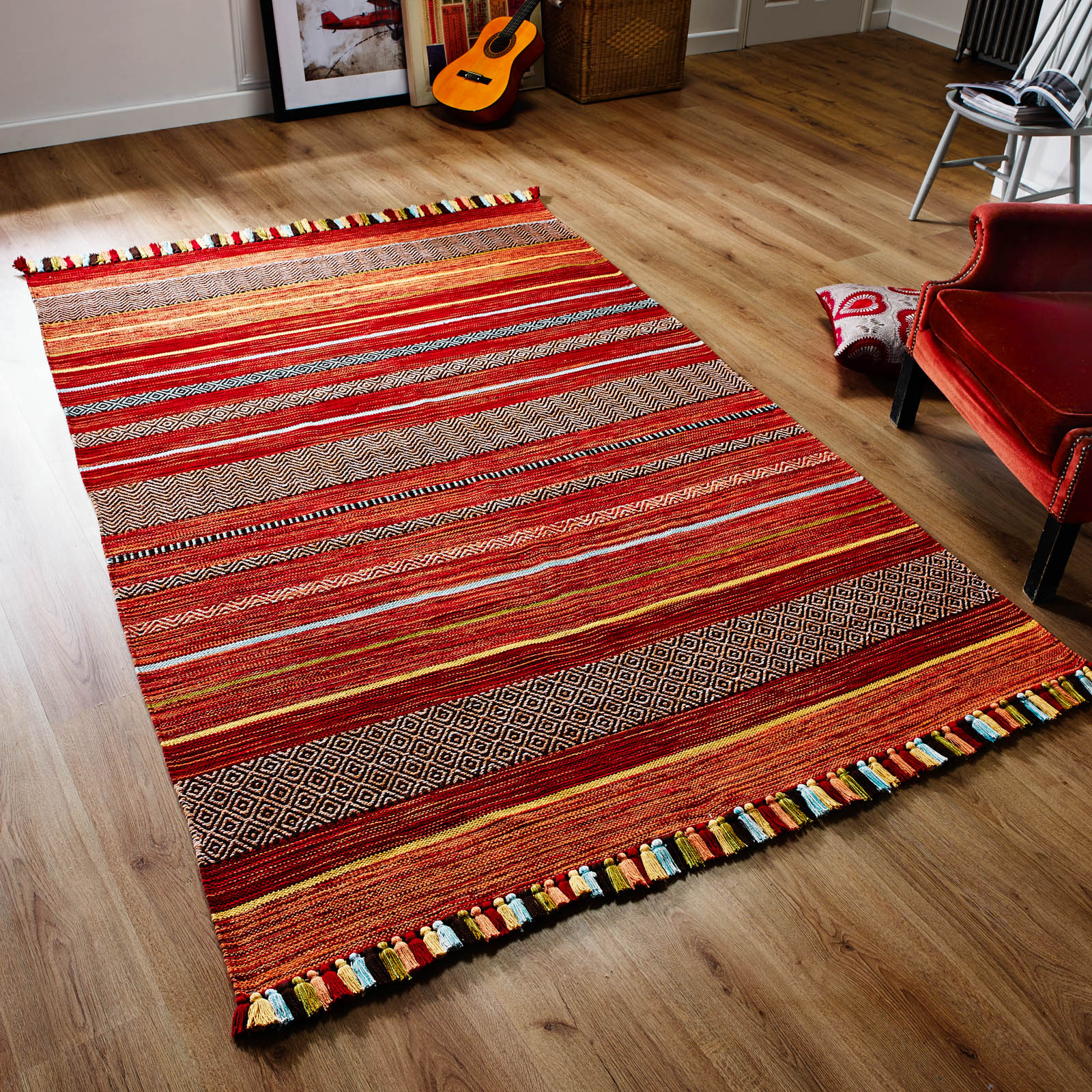 Kelim Striped Rugs in Red