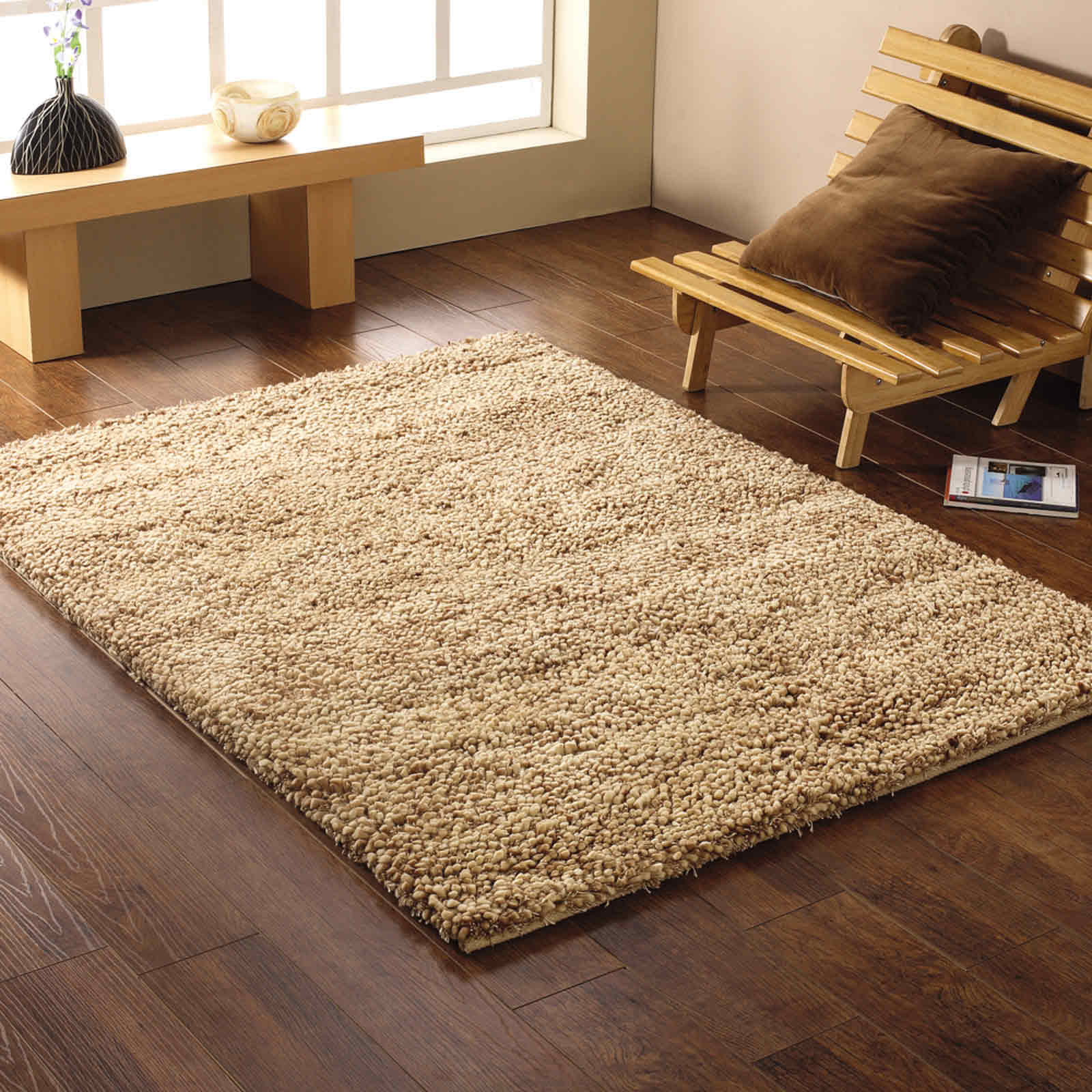 KENSINGTON RUGS - PURE SHAGGY WOOL IN BEIGE