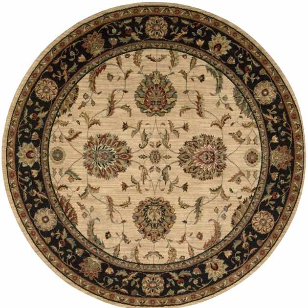 Living Treasure Circular Rugs LI04 in Ivory Black