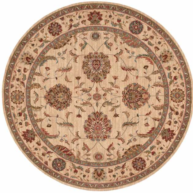 Living Treasure Circular Rugs LI04 in Ivory