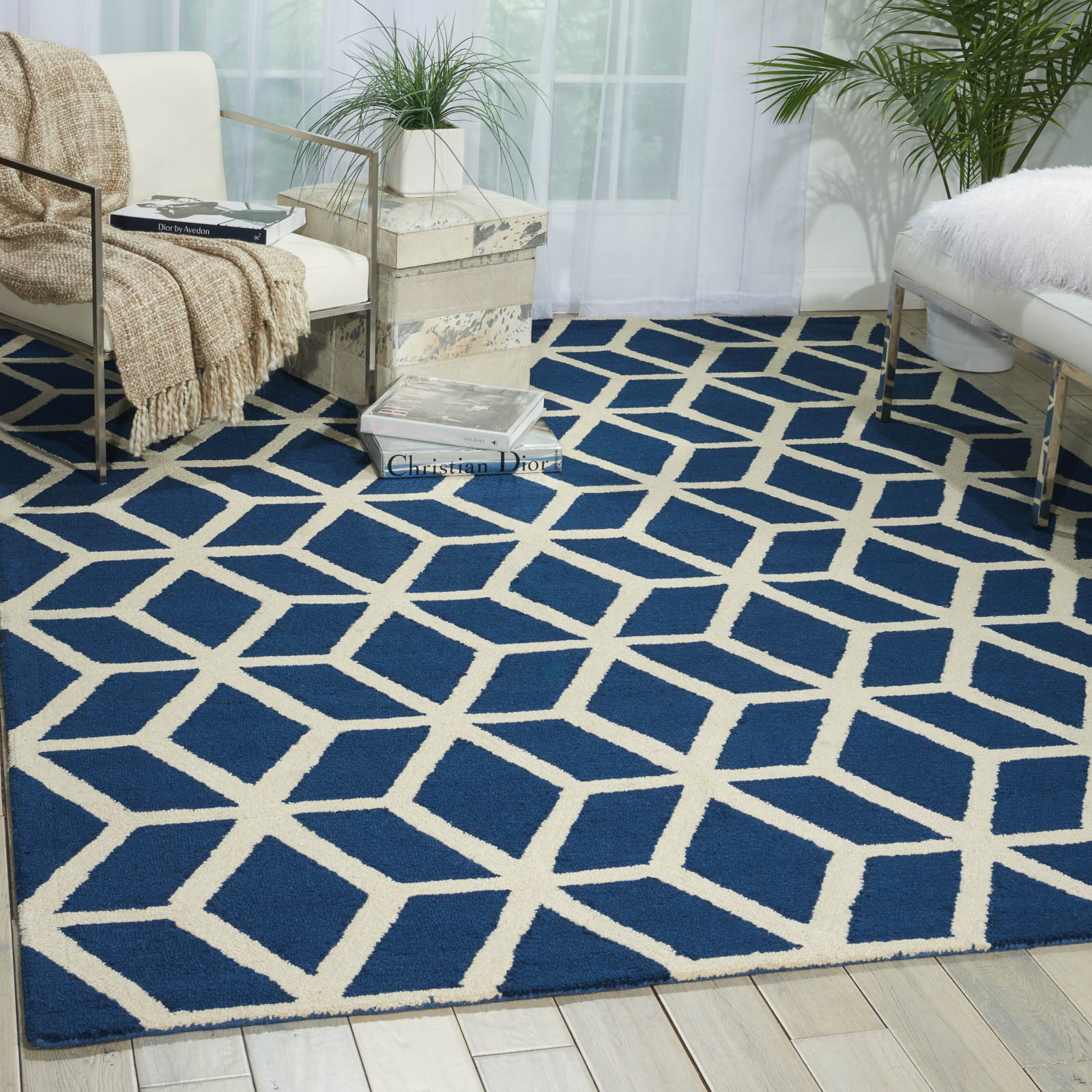 Linear Rugs LIN01 in Blue and Ivory