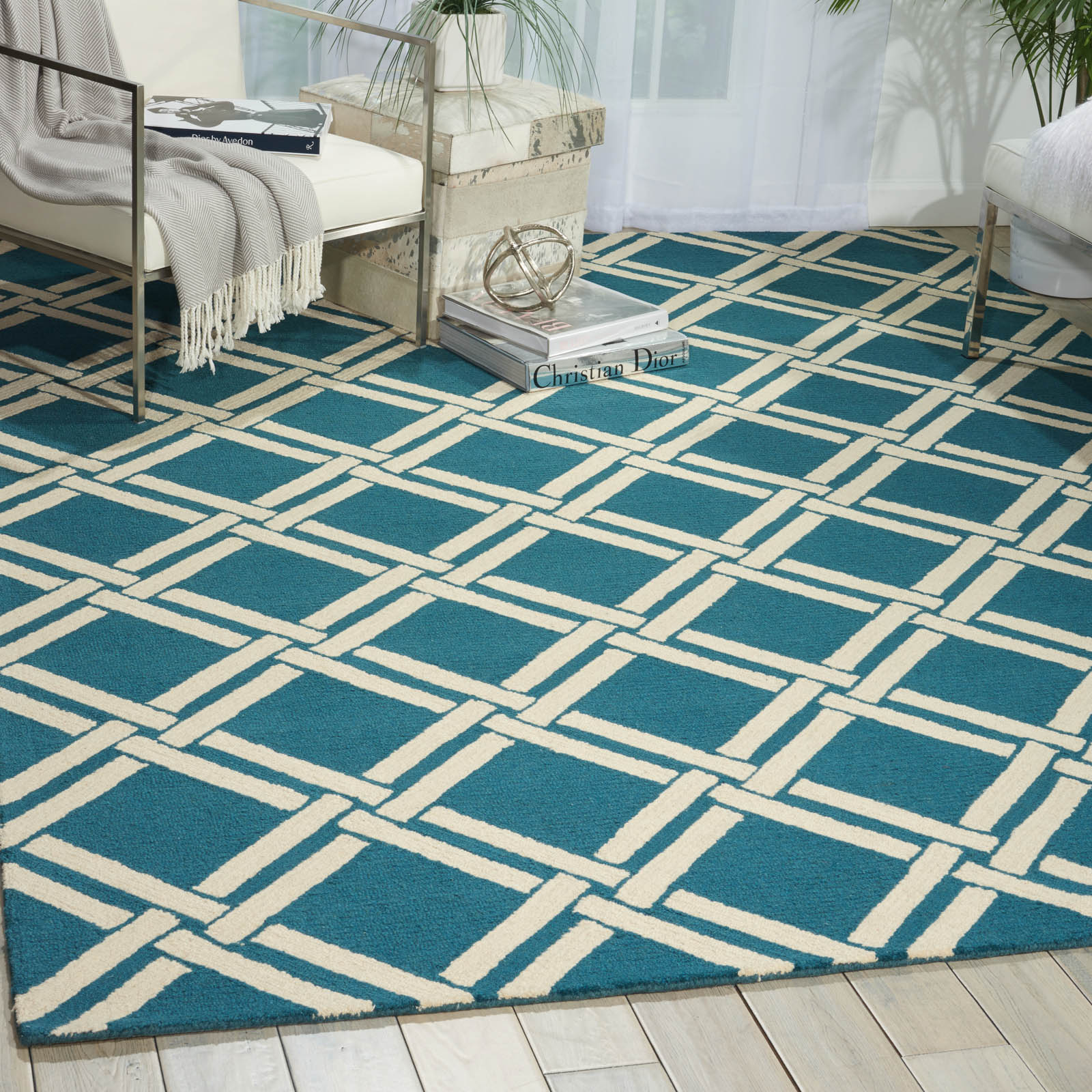 Linear Rugs LIN04 in Teal and Ivory