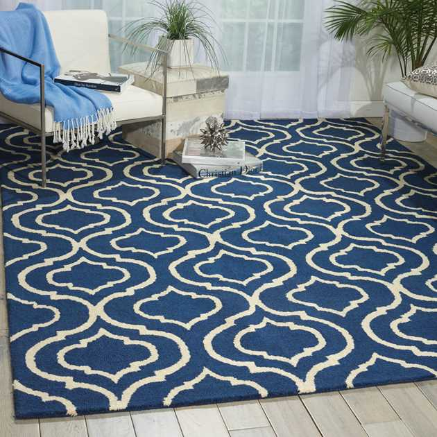 Linear Rugs LIN15 in Navy