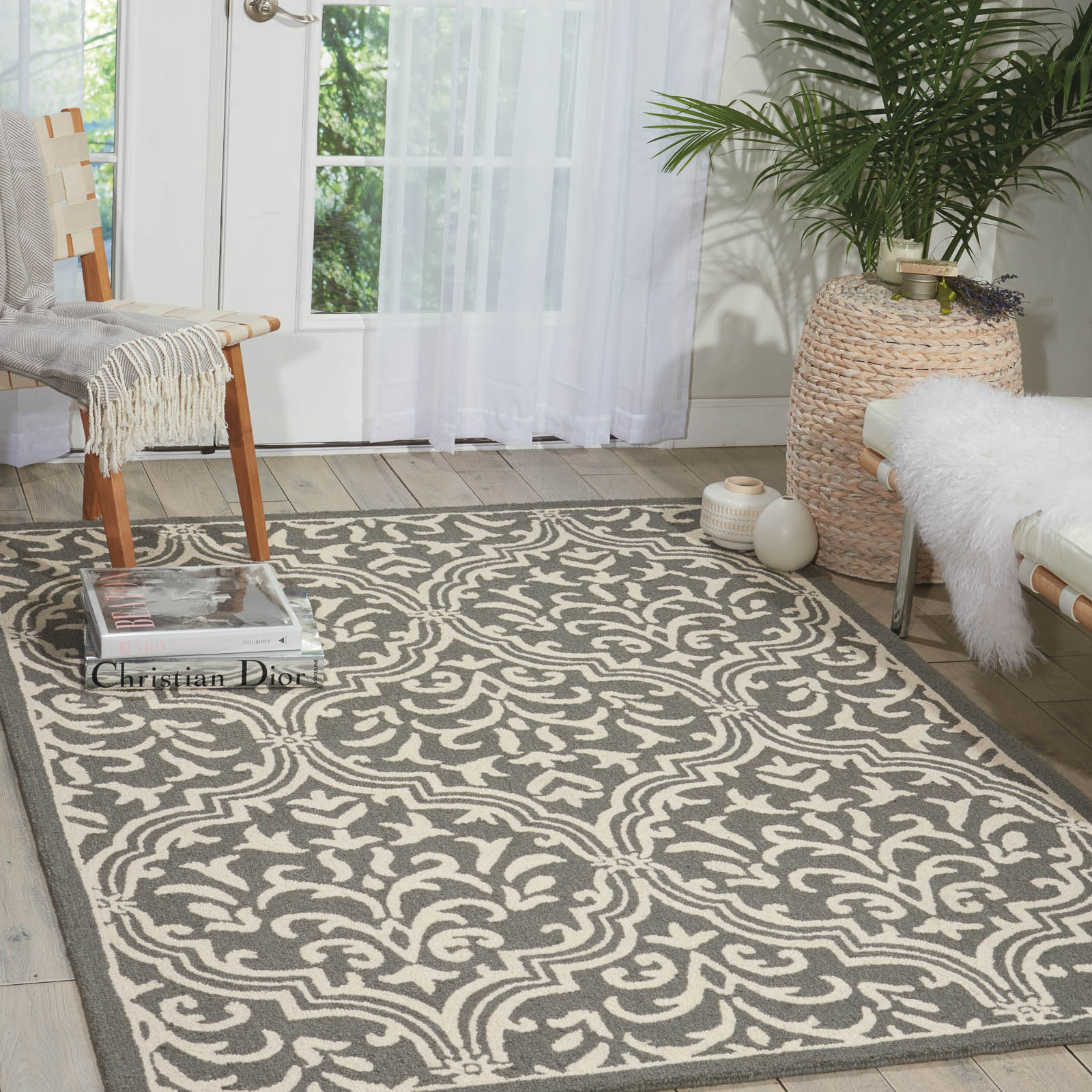 Linear Rugs LIN20 in Grey and Ivory
