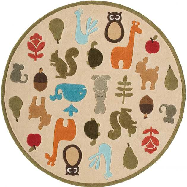 Critters Circular Rugs lmj2 by Momeni in Ivory