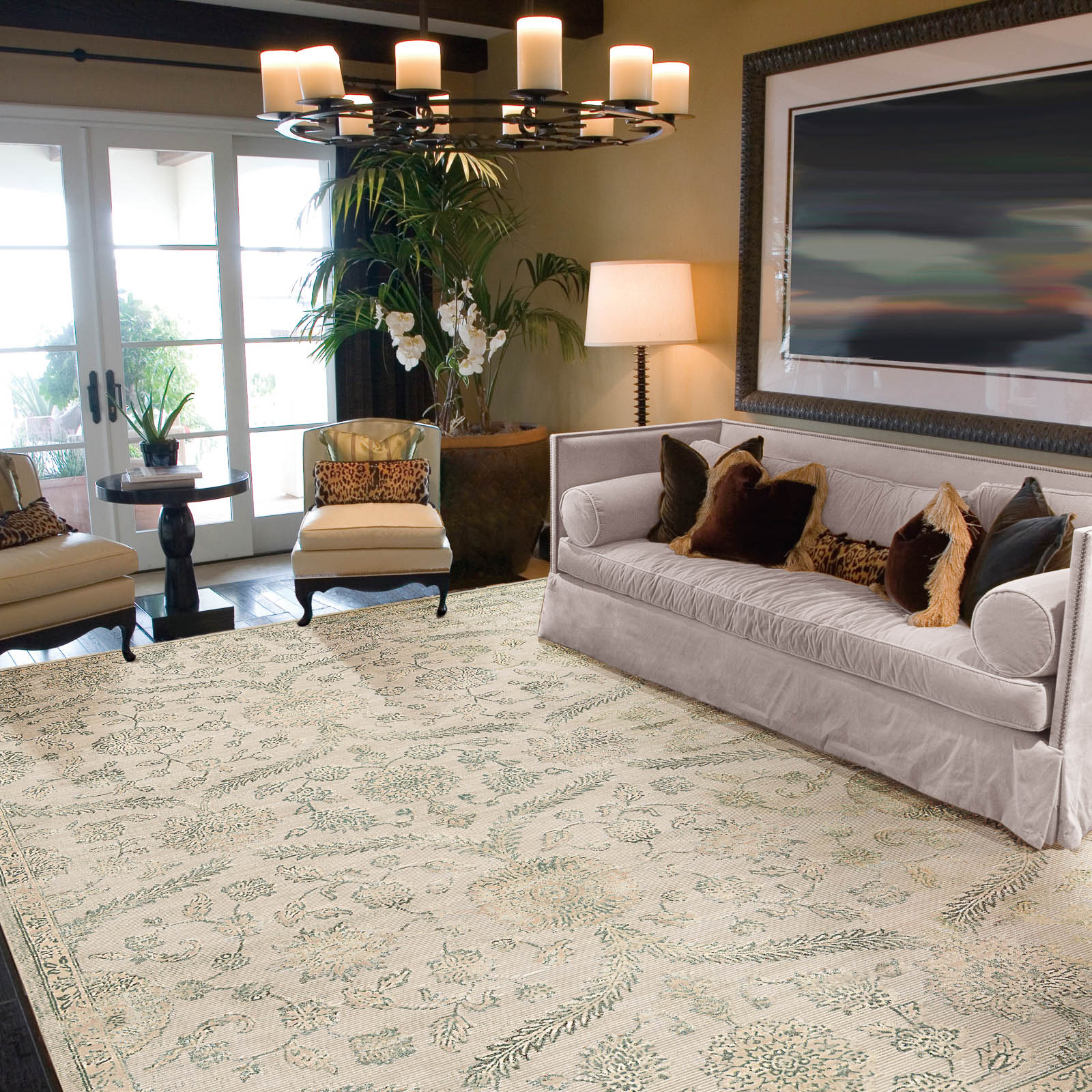 Nourison Luminance Rugs LUM04 in Cream Mint