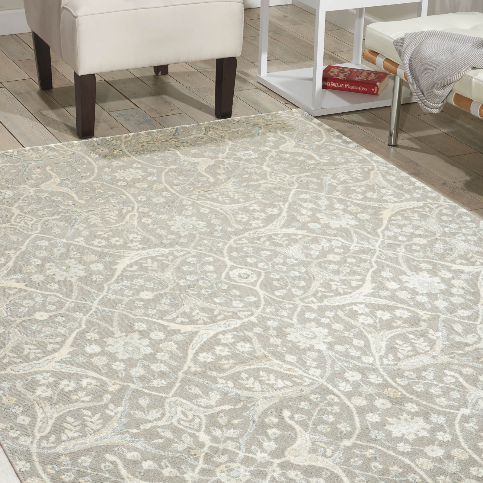 Nourison Luminance Rugs LUM08 in Steel