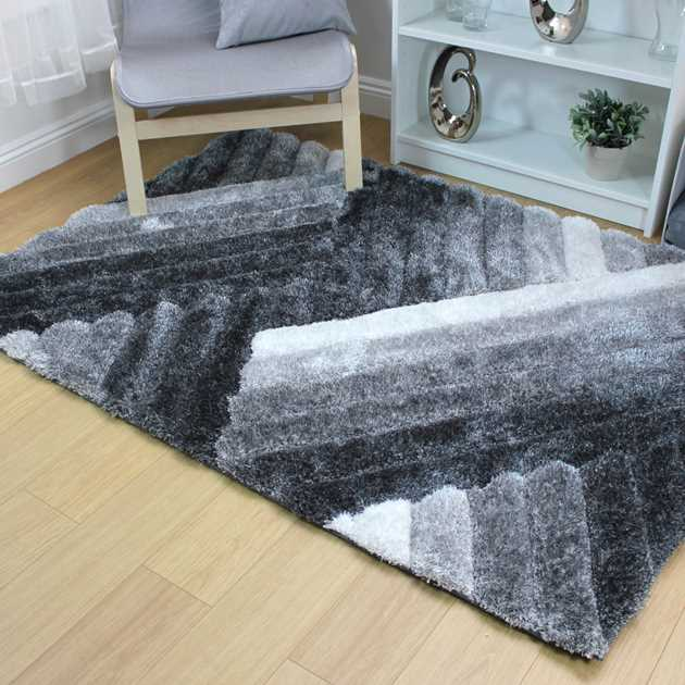 Ascent Lattice Shaggy Rugs in Grey