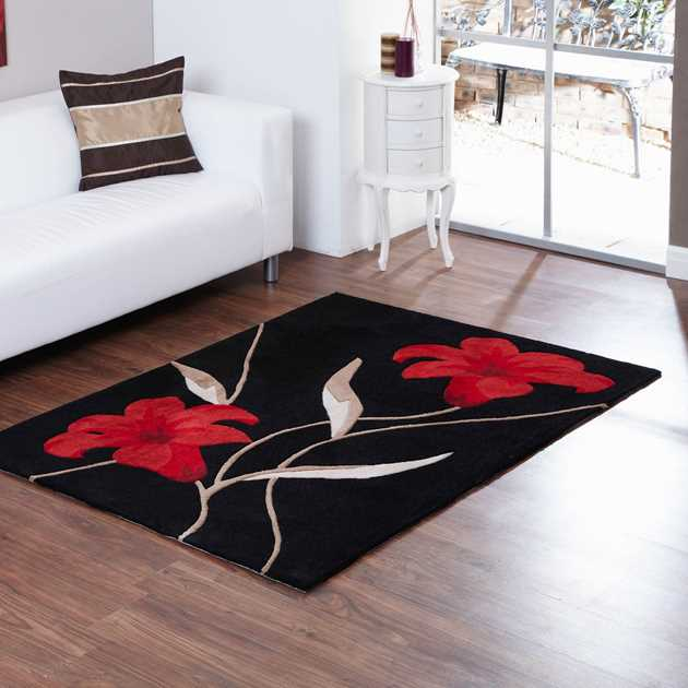 Aspire Lawrence Rugs in Black Red