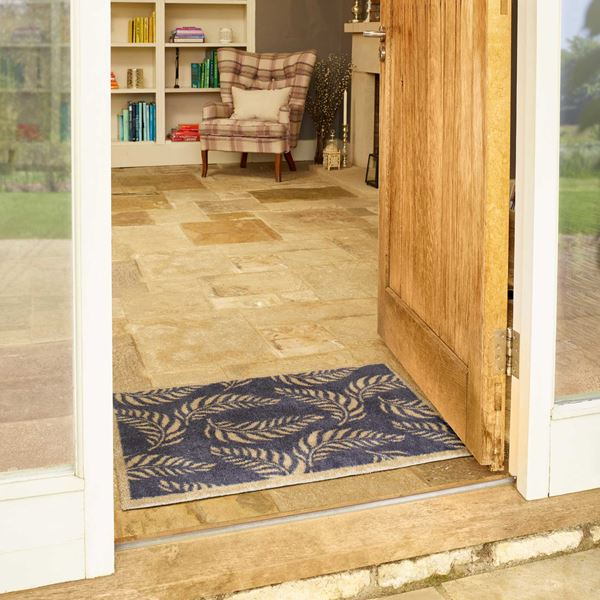 Leaf Scroll Doormat - Blue