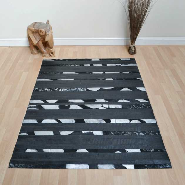 Leather Patchwork Rug in Black Embossed