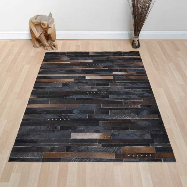 Leather Patchwork Rug in Brown Mix with Studs