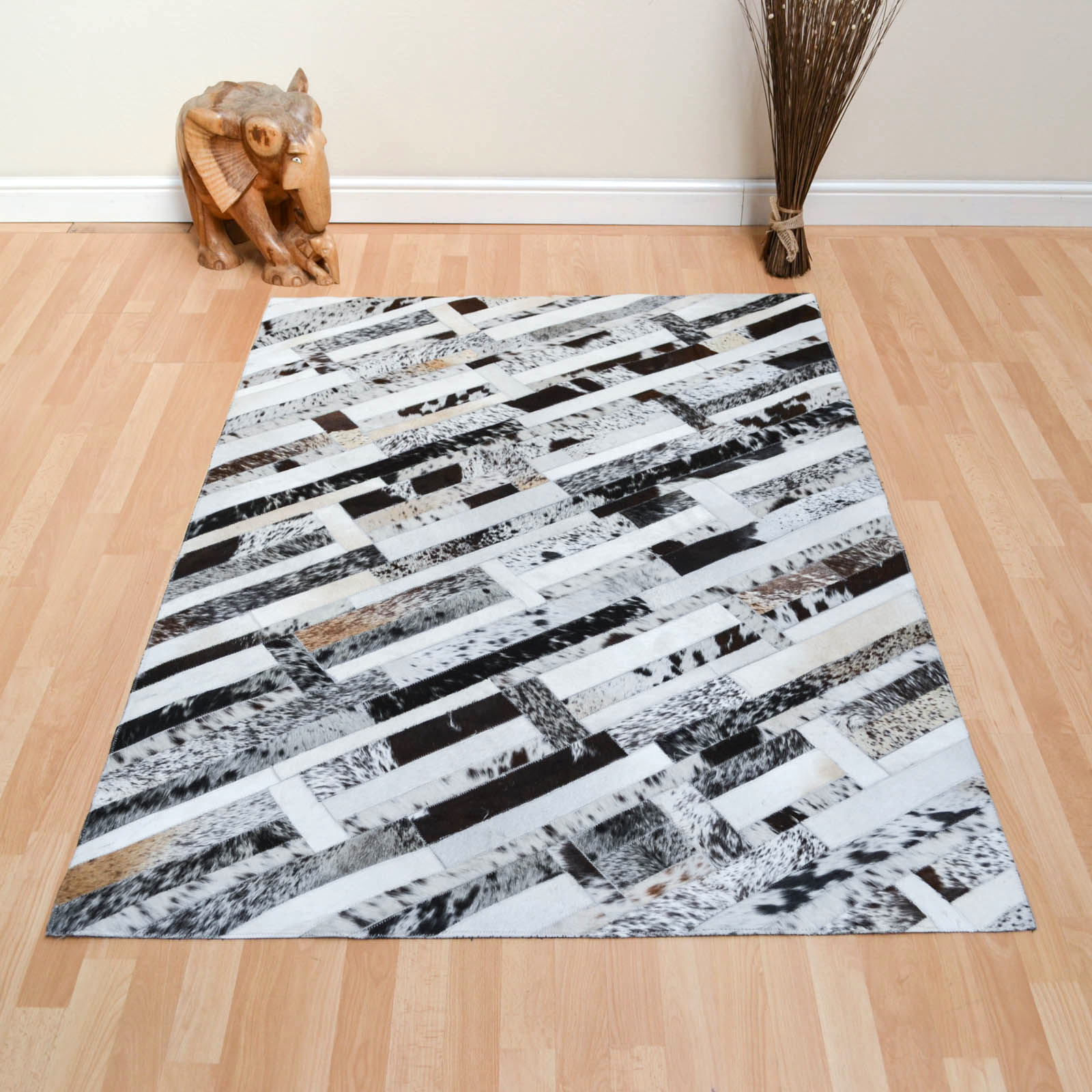 Leather Patchwork Rug in Herring Bone Mix