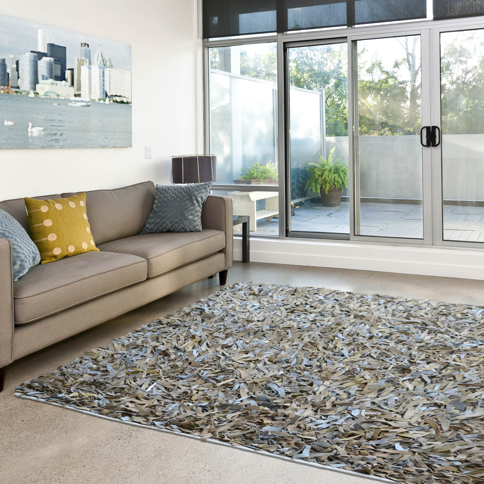 Leather Shaggy Rugs in Beige