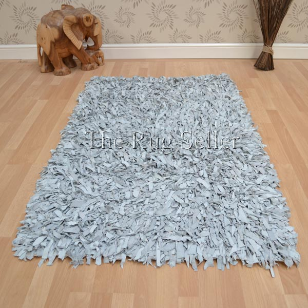 leather shaggy rugs in dove grey