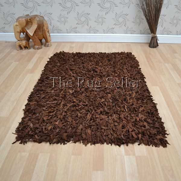 Leather Shaggy Rugs in Tan