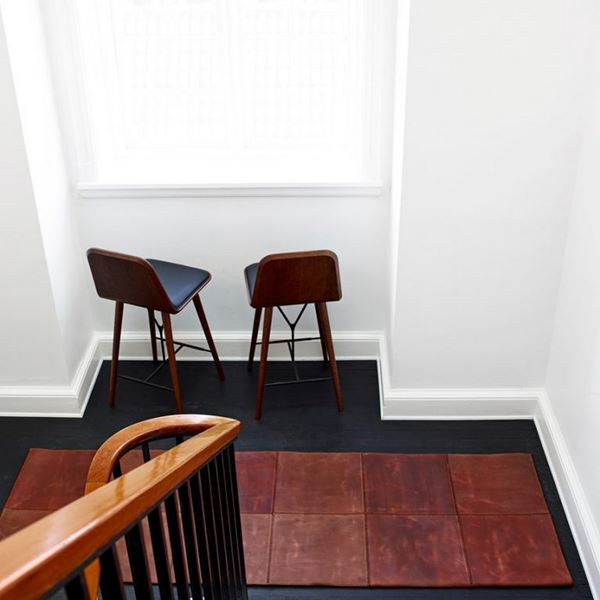 Leather Square Runner - Brown