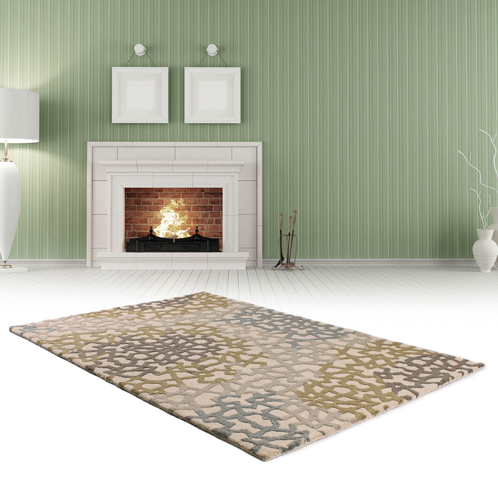 Fusion Legacy Rugs in Beige and Green