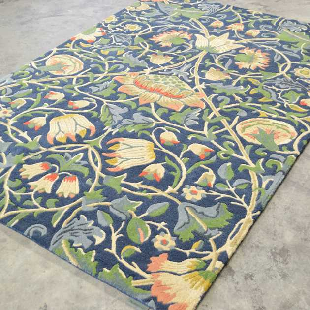 Lodden Rugs 27808 In Indigo And Mineral By William Morris