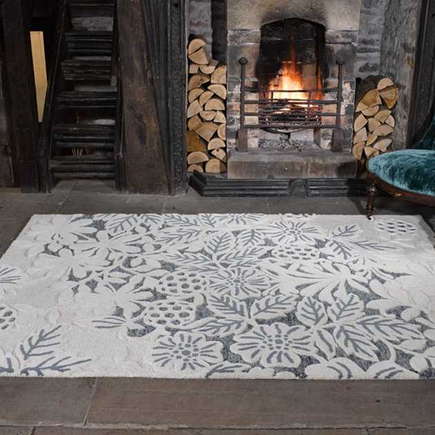 Textures Loxley Rugs in White Grey